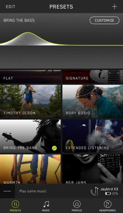 Jaybird X3 App Screenshot